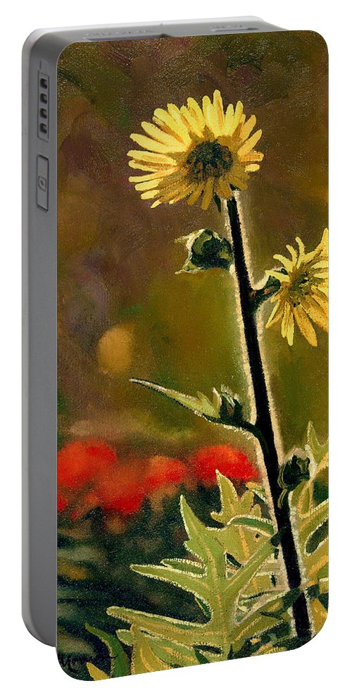 Prairie Flowers Portable Battery Charger featuring the painting July Afternoon-Compass Plant by Bruce Morrison