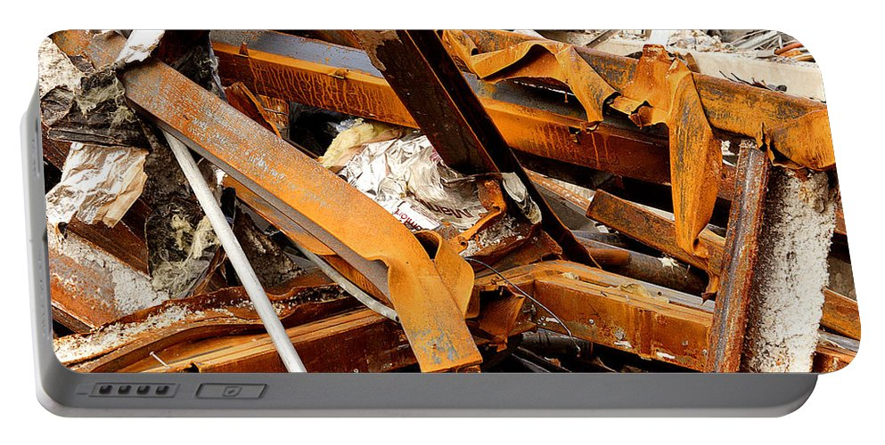 Steel Portable Battery Charger featuring the photograph Jumbled Steel by Jean Macaluso