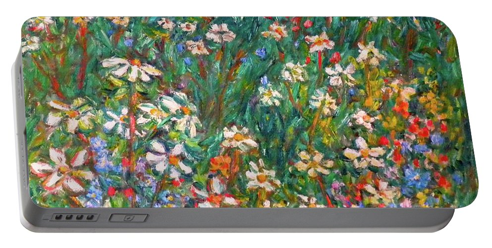 Kendall Kessler Portable Battery Charger featuring the painting Jumbled Up Wildflowers by Kendall Kessler