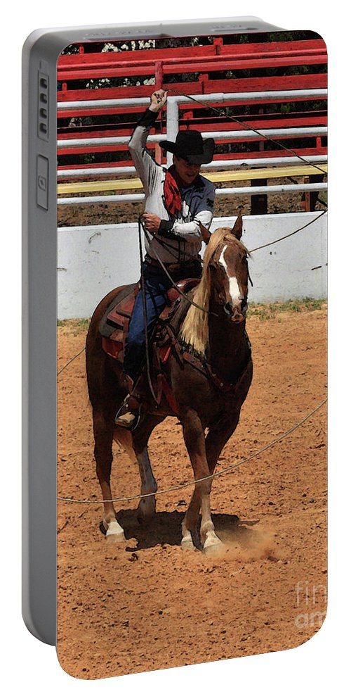 Western Entertainers Portable Battery Charger featuring the photograph Jump Now by Kim Henderson