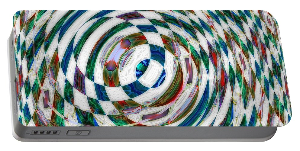 Abstract Portable Battery Charger featuring the painting Jumping Through Hoops by RC DeWinter