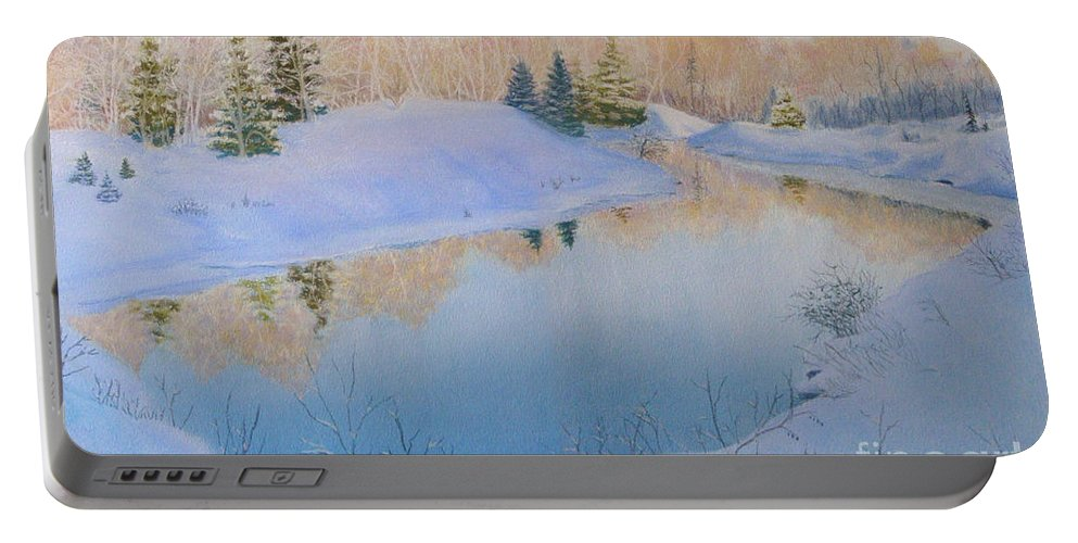 Landscape Portable Battery Charger featuring the painting Junction Creek by Lynn Quinn