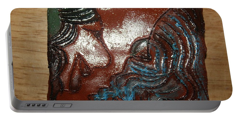 Jesus Portable Battery Charger featuring the ceramic art June - Tile by Gloria Ssali