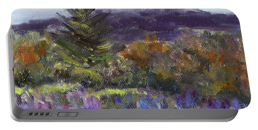 Original Oil Portable Battery Charger featuring the painting June Carpet by Alicia Drakiotes