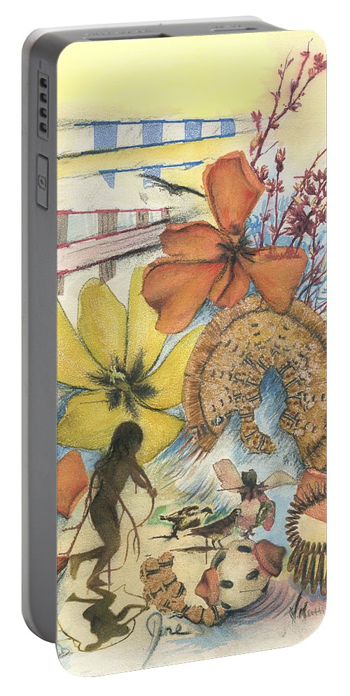 Abstract Portable Battery Charger featuring the digital art June by Valerie Meotti