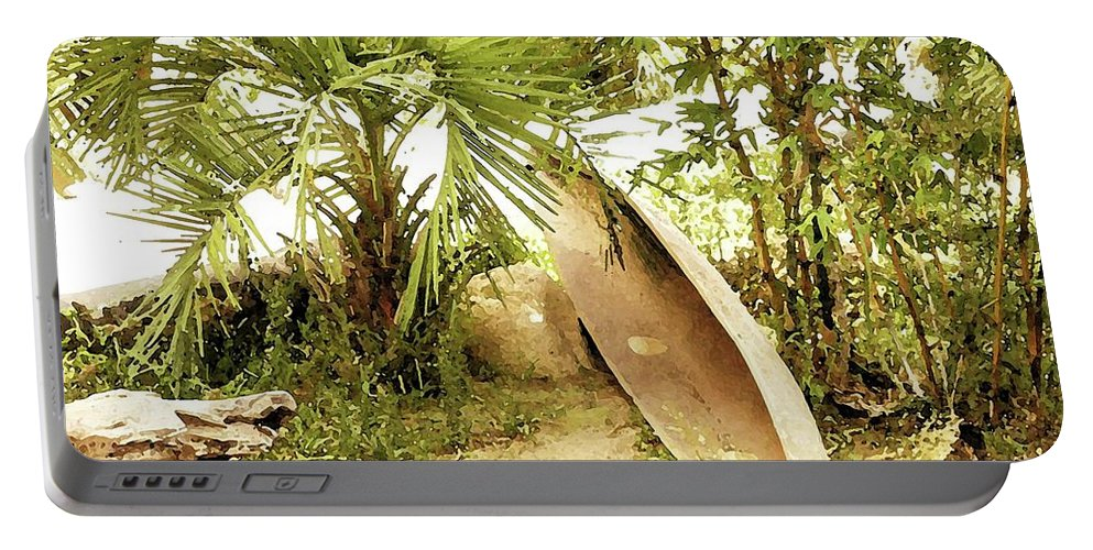 Jungle Canoe Portable Battery Charger featuring the digital art Jungle Canoe by Ronald Irwin