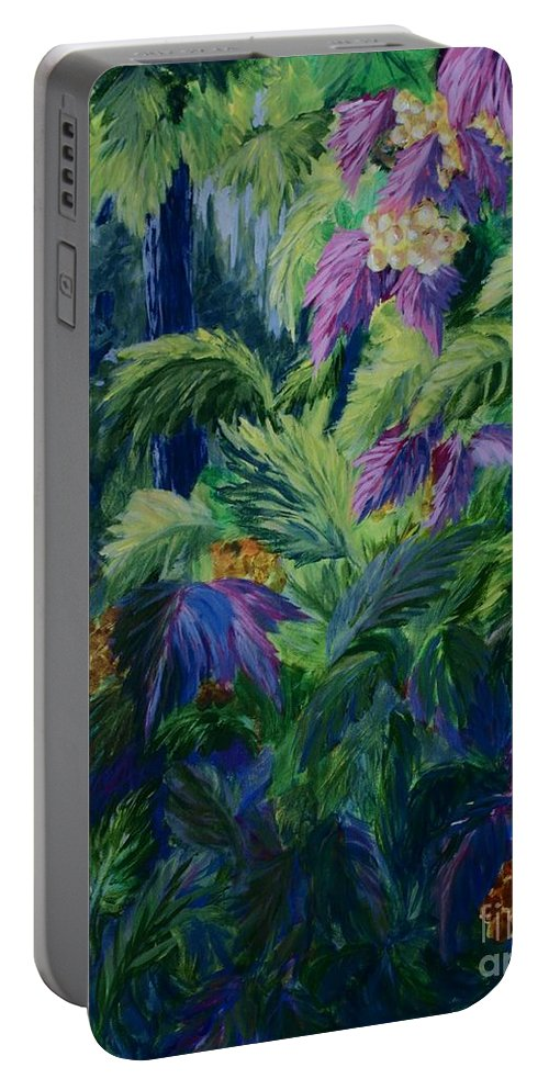 Jungle Portable Battery Charger featuring the painting Jungle Delights by Joanne Smoley