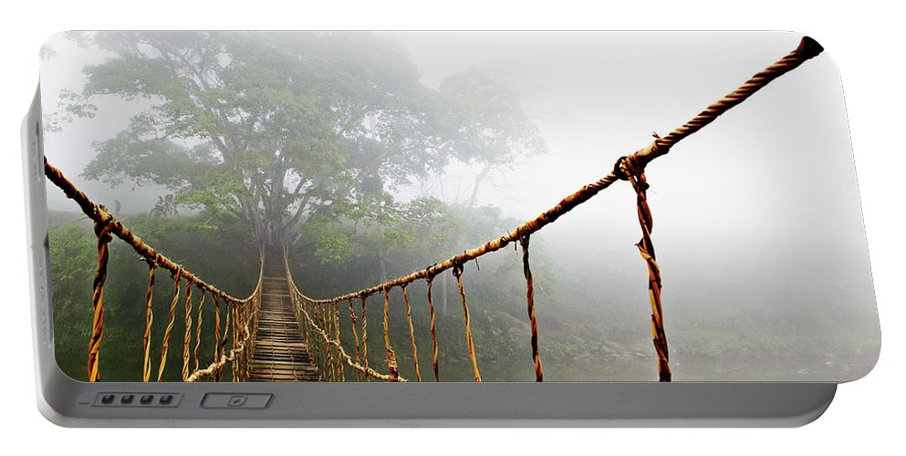 Rope Bridge Portable Battery Charger featuring the photograph Jungle Journey by Skip Nall