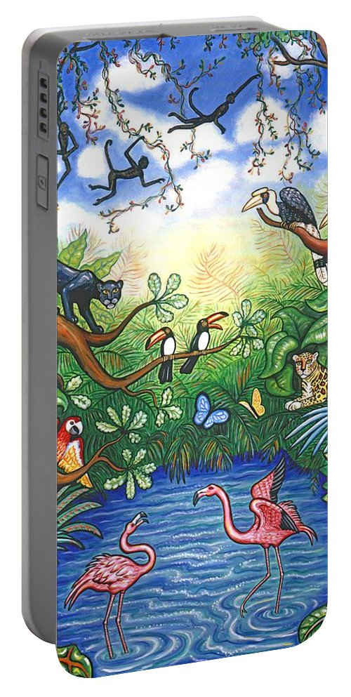 Landscape Portable Battery Charger featuring the painting Jungle One by Linda Mears