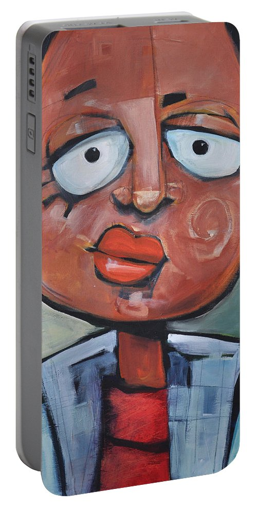 Child Portable Battery Charger featuring the painting Junior Artist Sans Crayon Hair by Tim Nyberg