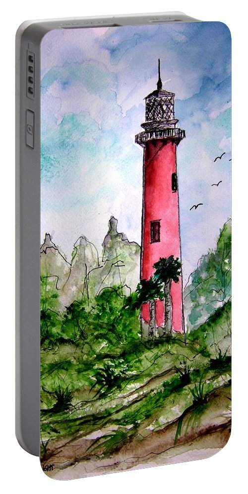 Lighthouse Portable Battery Charger featuring the painting Jupiter Florida Lighthouse by Derek Mccrea