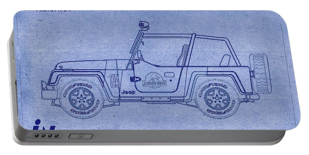 Jurassic Park Portable Battery Charger featuring the digital art Jurassic Park Jeep Blueprint by Tommy Anderson
