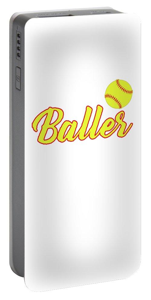 Baseball-sports Portable Battery Charger featuring the digital art Just A Baller From North Dakota by Kaylin Watchorn