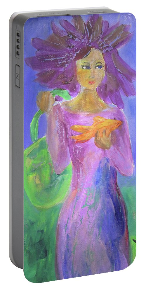 Purple Portable Battery Charger featuring the painting Just A Girl And Her Goldfish by Linda Watson