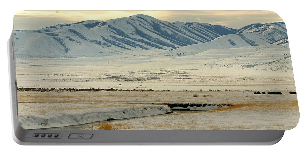 Ann Keisling Portable Battery Charger featuring the photograph Just A Little Snow by Ann Keisling