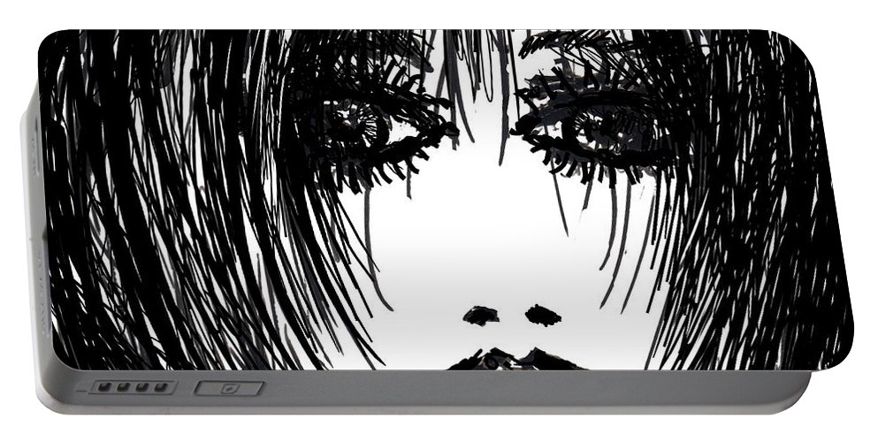 Girl Portable Battery Charger featuring the drawing Just Another Pretty Face by Rachel Christine Nowicki