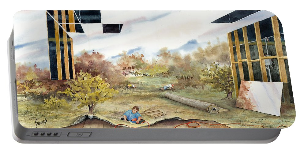 Landscape Portable Battery Charger featuring the painting Just Another Unfinished Landscape Painting by Sam Sidders