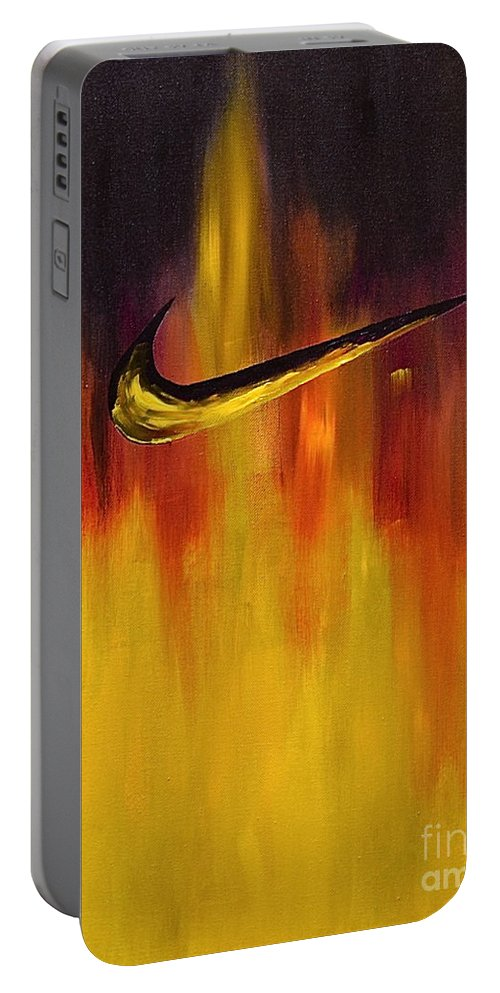 Sports Nike Abstract By Herschel Fall Portable Battery Charger featuring the painting Just Do It by Herschel Fall