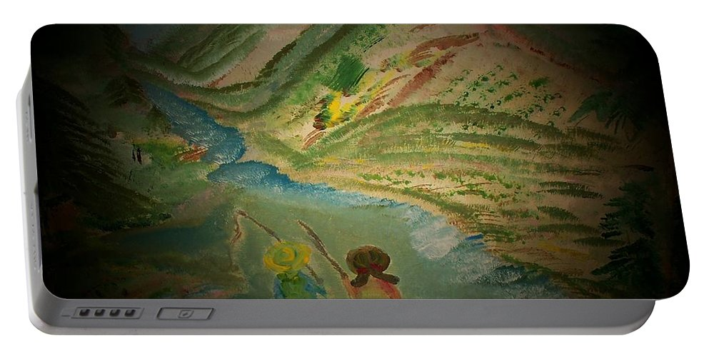 Fishing Portable Battery Charger featuring the painting Just Fishin by Mandy Henninger christophel