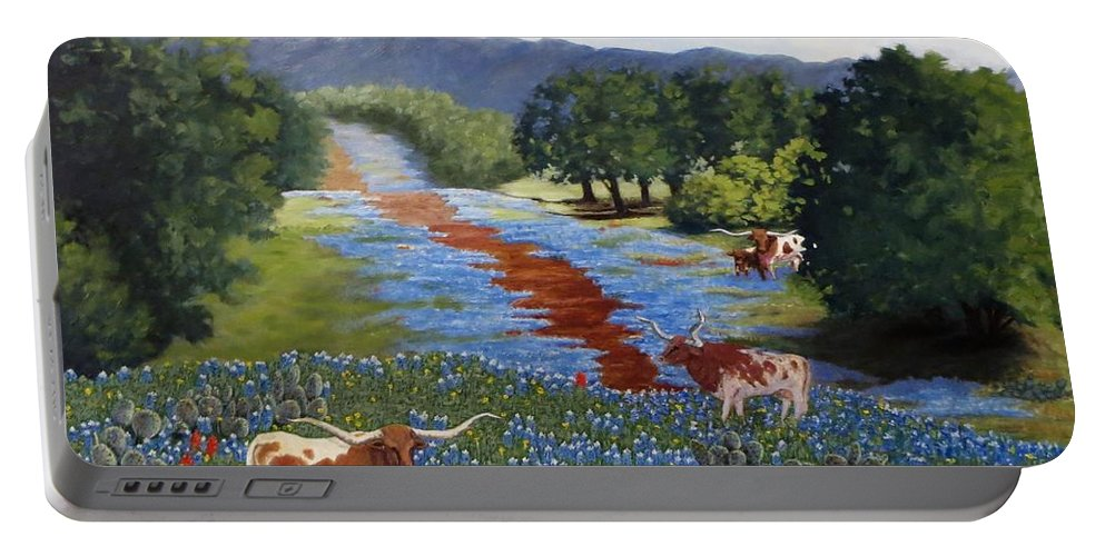 Longhorn Portable Battery Charger featuring the painting Just Hangin' Out by Beverly Theriault