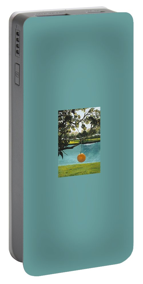 Orange Portable Battery Charger featuring the painting Just Hanging by Esther Gordon