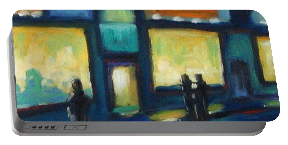 Town Portable Battery Charger featuring the painting Just Looking by Richard T Pranke