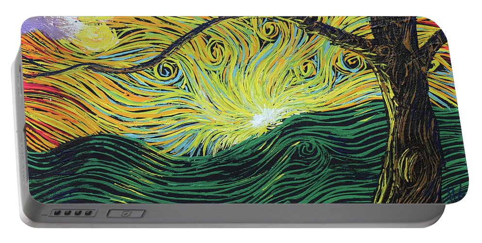 Squiggles Portable Battery Charger featuring the painting Just Over The Hill Too by Stefan Duncan