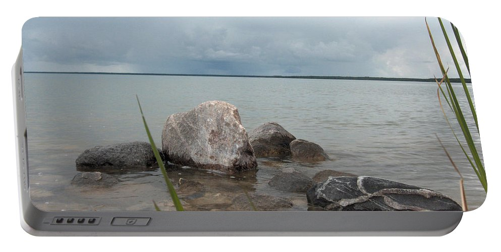 Rocks Water Lake Sky Nature Clouds Portable Battery Charger featuring the photograph Just Rocks by Andrea Lawrence