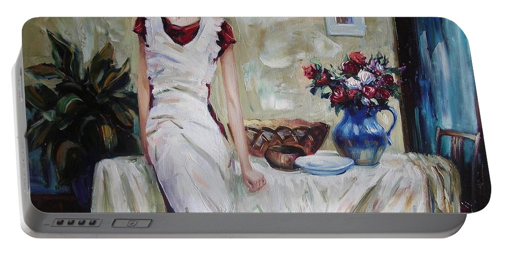 Figurative Portable Battery Charger featuring the painting Just The Next Day by Sergey Ignatenko