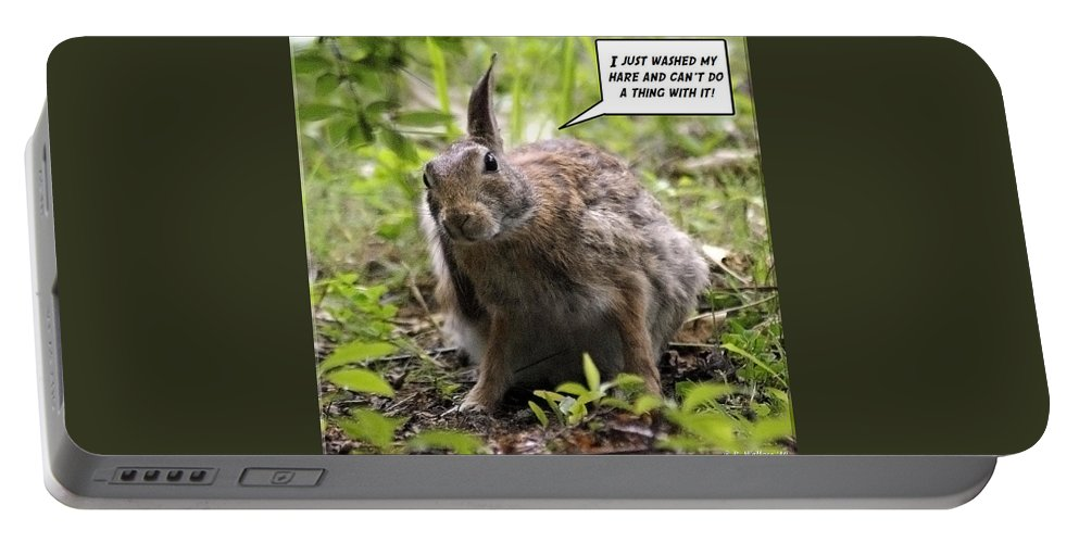 2d Portable Battery Charger featuring the photograph Just Washed My Hare by Brian Wallace