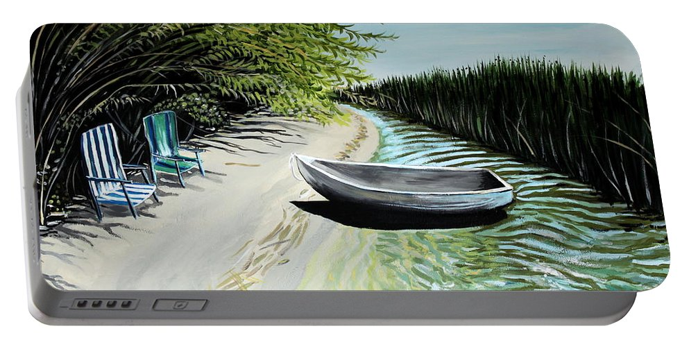Boat Portable Battery Charger featuring the painting Just You And I by Elizabeth Robinette Tyndall