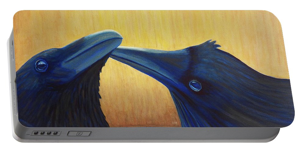 Ravens Portable Battery Charger featuring the painting K And B by Brian Commerford
