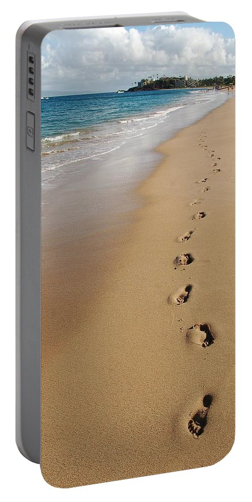 Kaanapali Beach Portable Battery Charger featuring the photograph Kaanapali Footprints In The Sand by Christine Owens