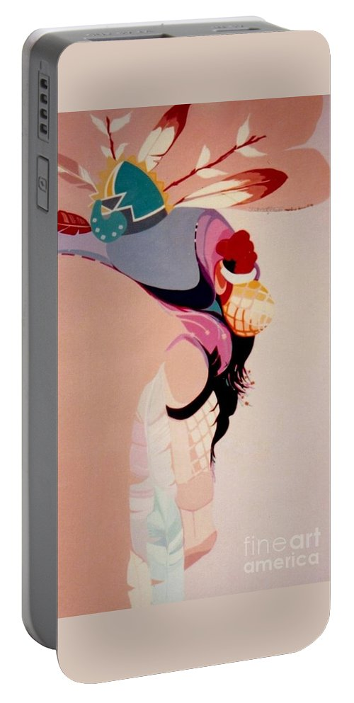 Kachina Portable Battery Charger featuring the painting Kachina 1 by Marlene Burns