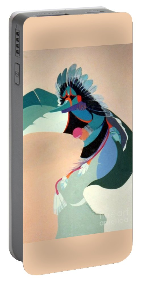 Kachina Portable Battery Charger featuring the painting Kachina 2 by Marlene Burns