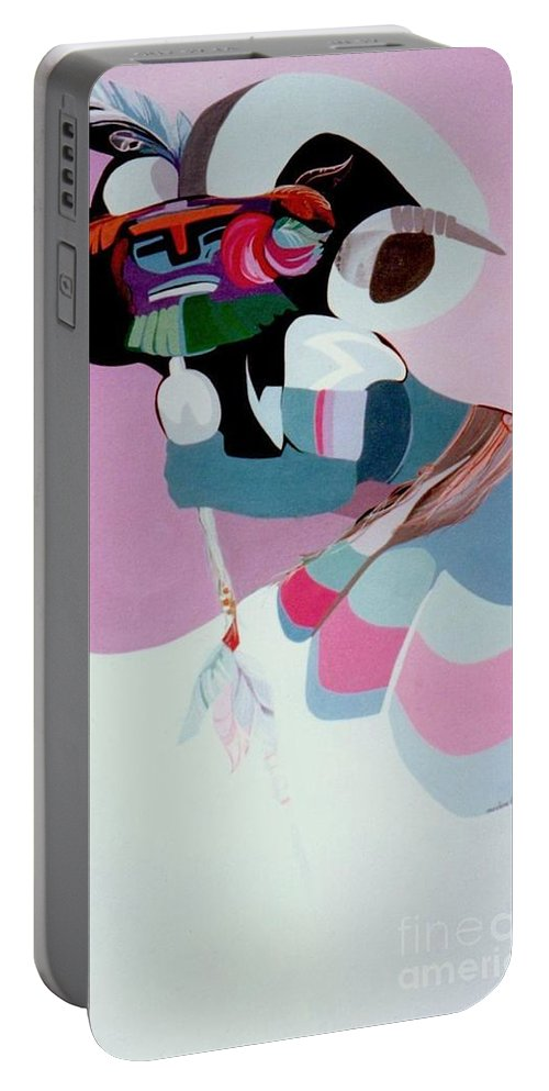 Portable Battery Charger featuring the painting Kachina 6 by Marlene Burns