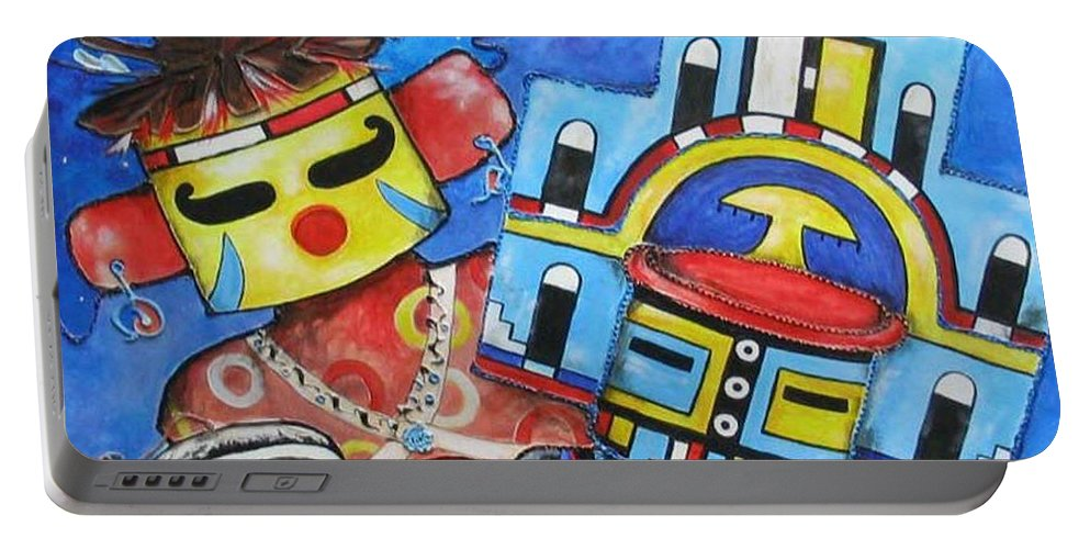 Native Portable Battery Charger featuring the painting Kachina Knights by Elaine Booth-Kallweit