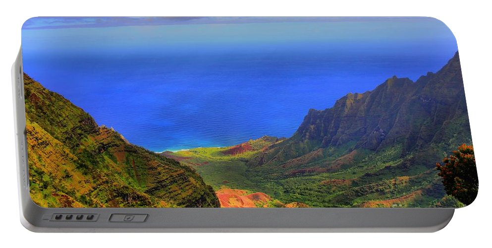 Hawaii Portable Battery Charger featuring the photograph Kalalau Valley by DJ Florek