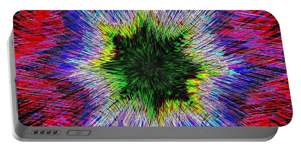 Kaleidomicro Portable Battery Charger featuring the digital art Kaleidomicro by Will Borden