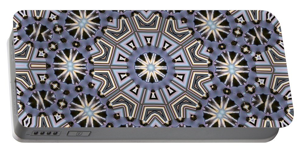 Kaleidoscope Portable Battery Charger featuring the digital art Kaleidoscope 104 by Ron Bissett