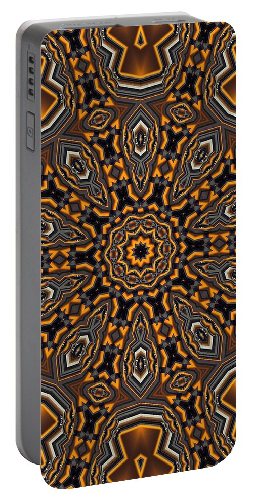 Kaleidoscope Portable Battery Charger featuring the digital art Kaleidoscope 25 by Ron Bissett