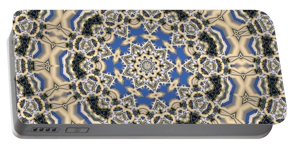 Kaleidoscope Portable Battery Charger featuring the digital art Kaleidoscope 77 by Ron Bissett
