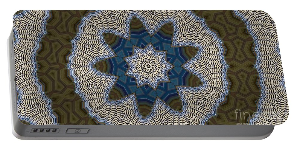 Kaleidoscope Portable Battery Charger featuring the digital art Kaleidoscope 87 by Ron Bissett