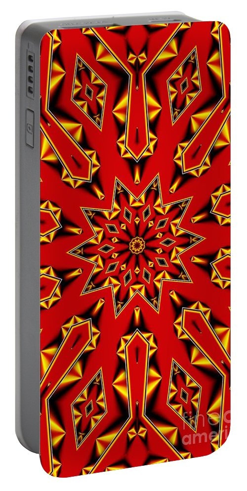 Kaleidoscope Portable Battery Charger featuring the digital art Kaleidoscope 89 by Ron Bissett