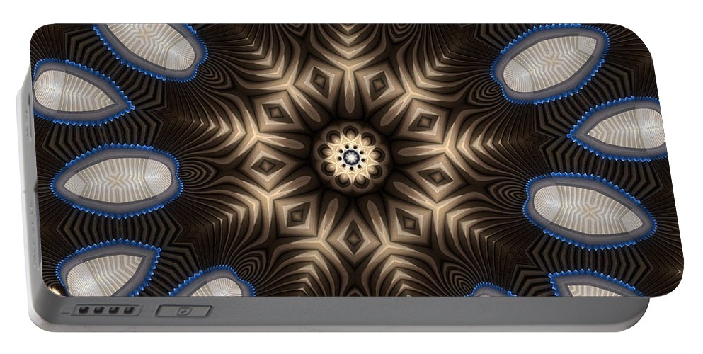 Kaleidoscope Portable Battery Charger featuring the digital art Kaleidoscope 91 by Ron Bissett