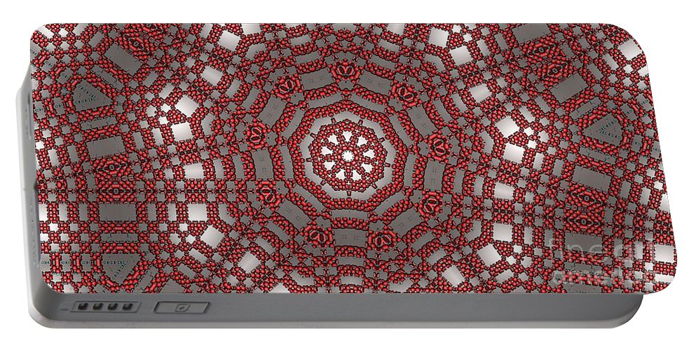 Kaleidoscope Portable Battery Charger featuring the digital art Kaleidoscope 95 by Ron Bissett