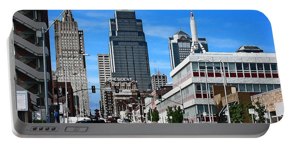 City Scape Portable Battery Charger featuring the photograph Kansas City Cross Roads by Steve Karol