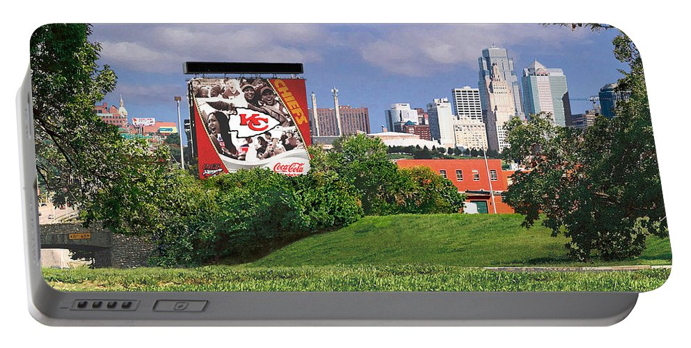 Landscape Portable Battery Charger featuring the photograph Kansas City Sky Line by Steve Karol
