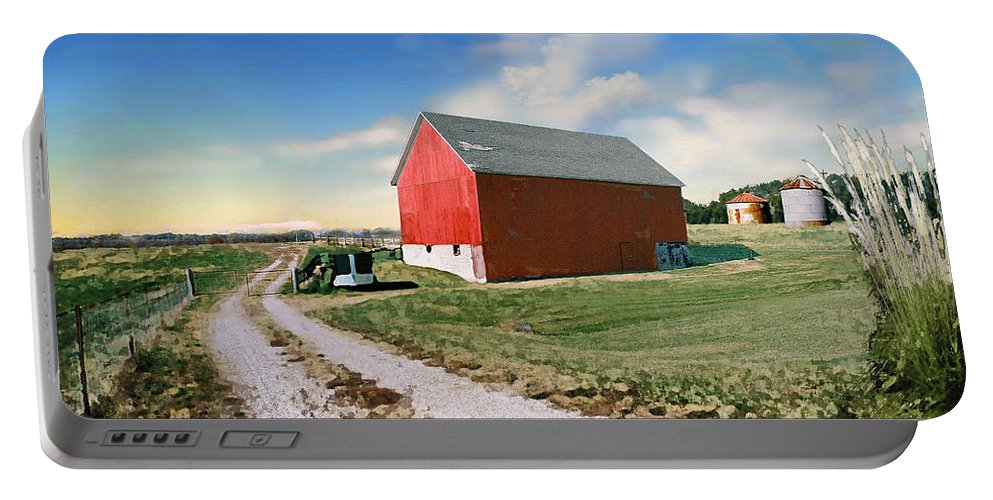 Barn Portable Battery Charger featuring the photograph Kansas Landscape II by Steve Karol
