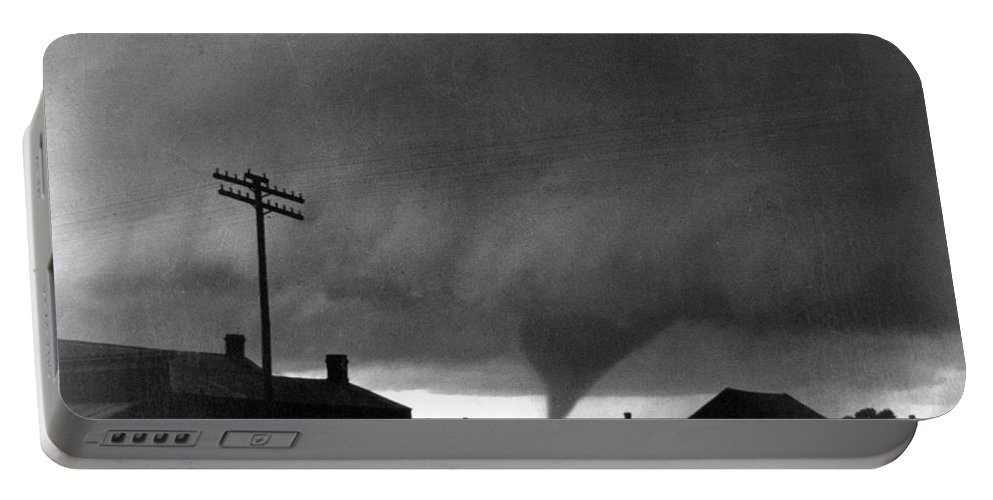 1902 Portable Battery Charger featuring the photograph Kansas: Tornado, C1902 by Granger